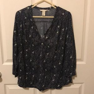 H&M Peasant top with bird pattern